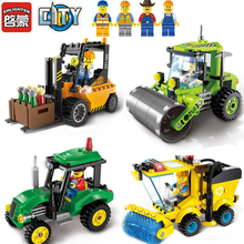 ENLIGHTEN 1101-1104 Road Roller Forklift Tractor Sweeper Truck Building Block Brinquedos Construction Assemble Toys For Children