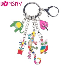 Bonsny 2016 Enamel Alloy Gecko Lizard Owl Elephant Alloy Key Chain For Women Girl Bag Keychain Charm Metal Jewelry Aceessories