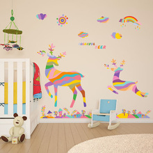 Cartoon Animals Colorful Deer Shopwindow Window Stickers Living Room Bedroom Wall Stikers For Kids Room Home Decor Stickers