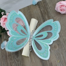 50Pcs Butterfly Hollow Invitation Card Chinese Handmade Scroll Wedding Invitation Customized Blue Engagement Party Card With Box