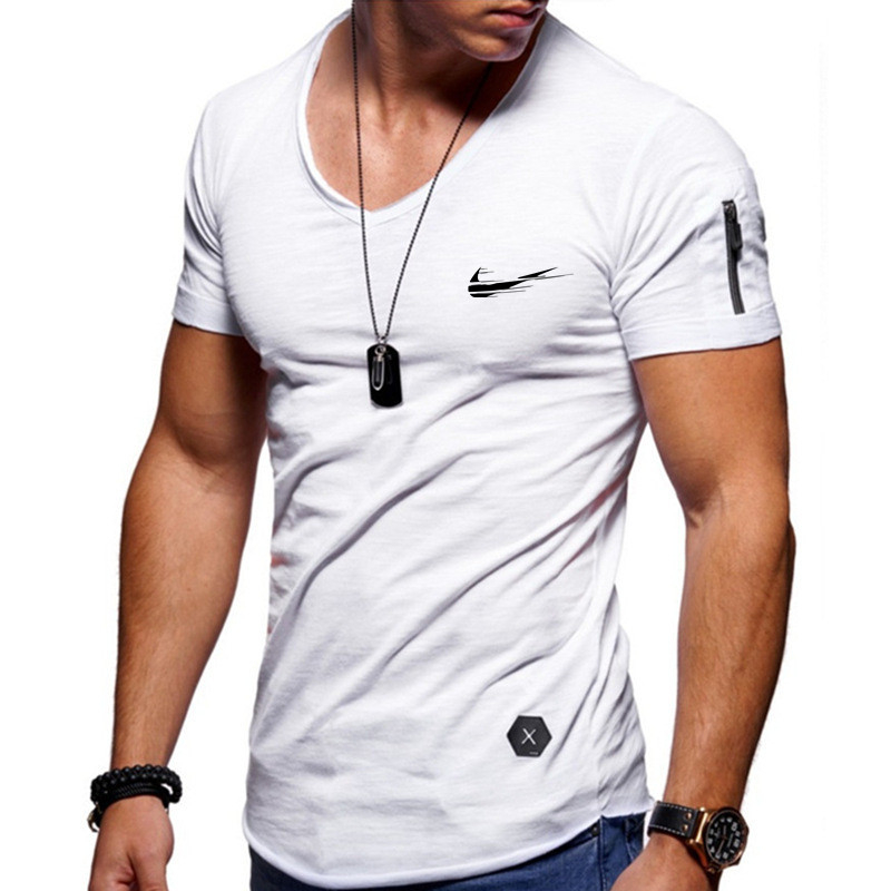 2019 V collar zipper sleeves slim men's T-shirt cotton T-shirt men's camisetas hombre hip-hop street top T-shirts increase S-5XL