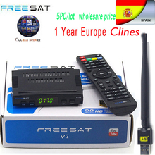 5pc/lot Satellite TV box Receiver decoder Freesat V7 HD DVB-S2 +USB Wfi with 7 Clines Europe Clines support full powervu tv box(China)