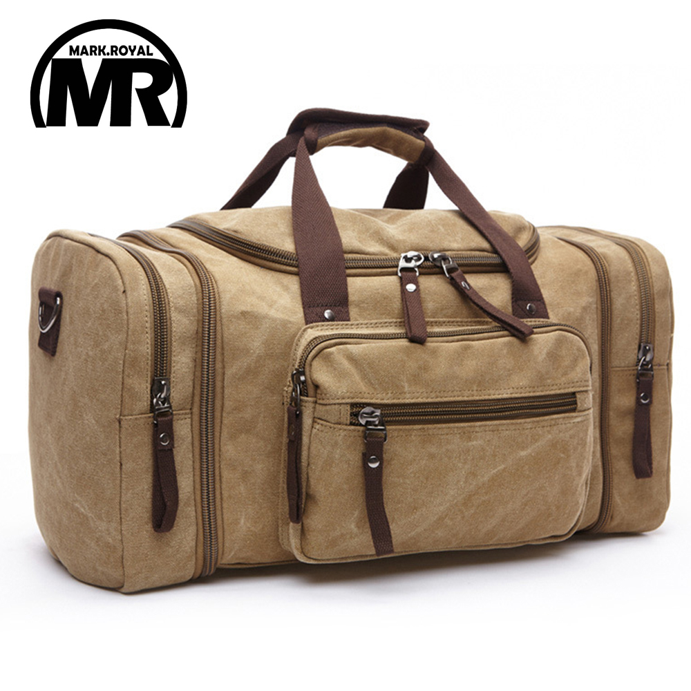 MARKROYAL Canvas Men Travel Bags Carry on Luggage Bags Men Duffel Bag Travel Tote Large Weekend Bag Overnight high Capacity<br>