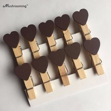 Brown Peach Heart Craft Wooden Clips Pegs Clothespins Set of 40 for Party Event Wedding Decoration Accessories Photo Clip