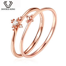 DOUBLE-R Natural Real Diamond Engagement Rings 18 K Solid Rose Gold Rings for Women Double Ring New Design Diamond Jewelry(China)