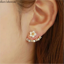 Kuziduocai New ! Fashion Fine Jewelry Gold Color Neckband Rhinestones Shell Daisy Flowers Romantic Stud Earrings For Women E-87(China)