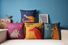 Free shipping Novelty Animal crocodile bird Wolf Horse Elephant balloon Pattern cushion cover home decorative throw pillow case