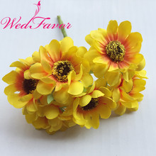 60pcs 3.5cm Mini Silk Gerbera Daisy Bouquets Artificial Chrysanthemum Flower Scrapbooking Garland Accessories Wedding Decoration
