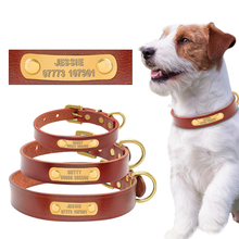 Leather Personalized Custom Dog ID Collar Free Engraved Brass ID Tag Puppy Name Phone Number Charm Plate For Small Medium Dogs(China)