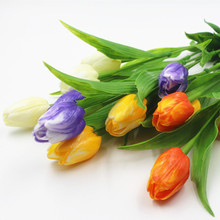 Simulation of a single tulip has 3 flowers living room table decoration Wedding embroidery artificial flowers(China)