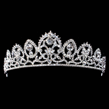 Luxury Sparkling Silver Color Wedding Diamante Pageant Tiaras Prom Crystal Bridal Crowns For Bride Hair Jewelry Accessories