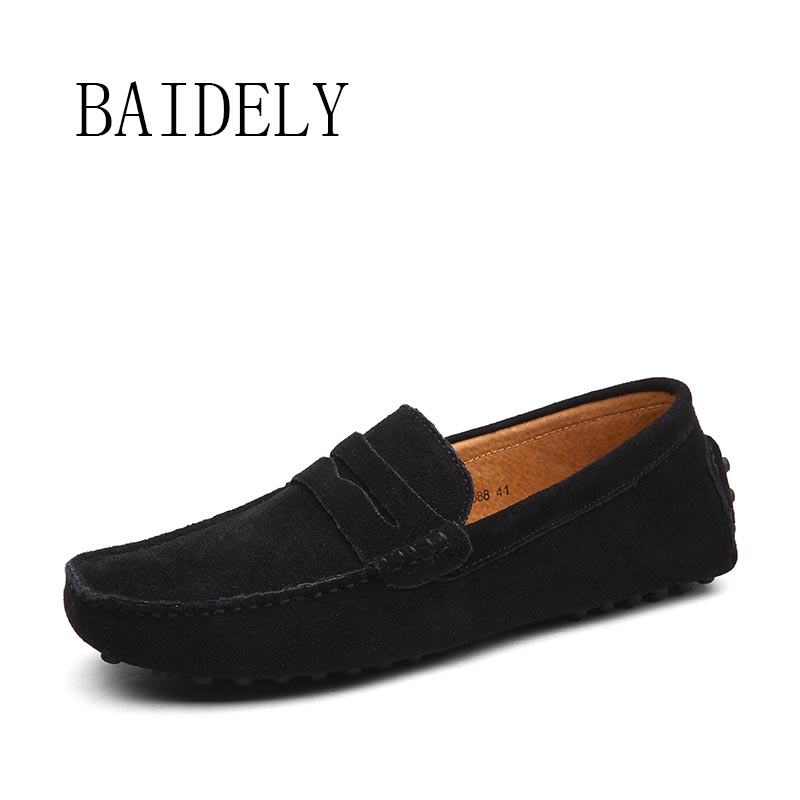 Fashion New Suede Genuine Leather Big Size Loafers High Quality Men Casual Flats Soft Moccasins Mens Handmade Driving Shoes<br><br>Aliexpress
