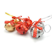 Christmas product 6pcs 6 types red gold silvery metal jingle bell with dot ribbon for home 50mm*50mm*40mm free shipping(China)