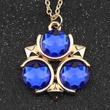 Buy Legend Zelda Necklace Triforce Logo Symbol Gold Color Crystal Pendant Fashion Game Jewelry Cosplay Men Women Wholesale for $1.31 in AliExpress store