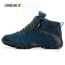 Onemix new autumn winter onemix men's anti slip outdoor sport shoes and wool lining women hiking shoes warm trekking shoes