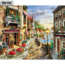 Craft Needlework Diy Handicrafts City Landscape Diamond Painting Street Painting Diamond Embroidery round Drill Mosaic Pic   ZS