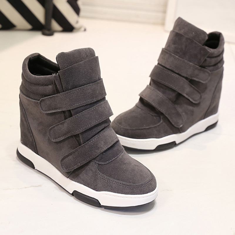 2016 Women 9cm height increaseing shoes Woman Canvas Casual Shoe Elevator thick sole Platform Wedges High Top with Zippers<br><br>Aliexpress