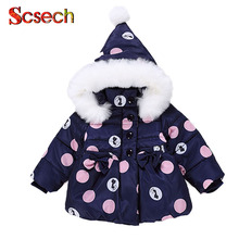 New Fashion Baby Girls Jackets Bow Tie Dot Autumn Winter Jacket Kid Warm Cat Children Outerwear Coat Boys Girls Clothes SSB03(China)