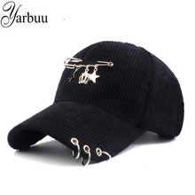 [YARBUU] Corduroy warm baseball caps in winter Crown iron decoration cap for women adjustable new fashion snapback girl's hat