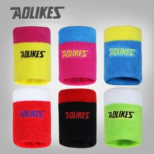 1 Pair AOLIKES Cotton Sport Sweatband Running Sweat Wrist Brace Support 3.3*3 inch Tennis Wristband For Badminton Gym Yoga(China)