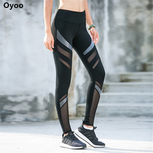 Oyoo Mesh Panels Yoga Pants Thick Fabric Sport Leggings Women Running Tights Compression Jogging Gym Legging Fitness Apparel