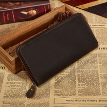 Mens Long Wallet Leather Genuine Wallet Bifold Zipper Around Crazy Horse Leather Clutches Vintage Male Brand Hand Bag 1020-3