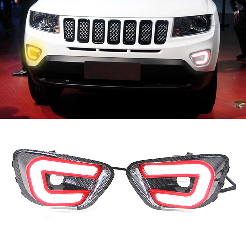 1 Pair Car Styling LED Daytime Running Light Sourse DRL Fog Lamp With Turning Signal For Jeep Compass 2011 2012 2013 2014<br><br>Aliexpress