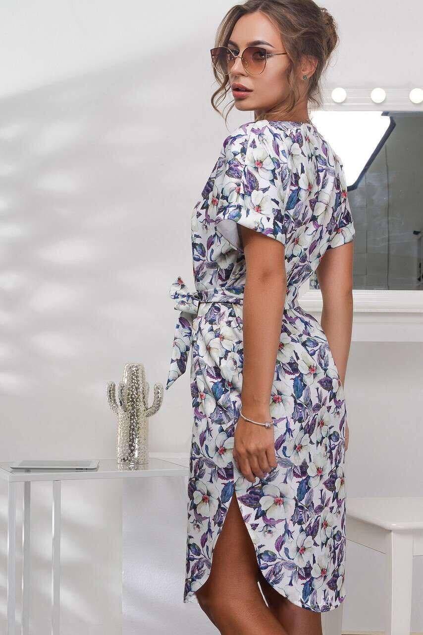 2018 Spring Summer Printed Women Dress O-Neck Hem Side Split Ladies Dresses Tie Sashes Short Sleeve Casual Sexy Female Vestidos 9