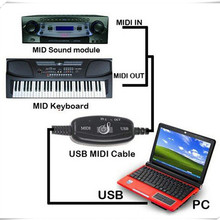 USB to Midi cable Lastest version built-in driver USB IN OUT MIDI Interface Cable Converter PC to Music Keyboard Adapter Cord(China)