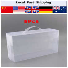 5pcs  Foldable Clear Plastic Storage Shoe Boot Boxes Case Women Ladies Stackable Shoe Box 30X18 X10CM