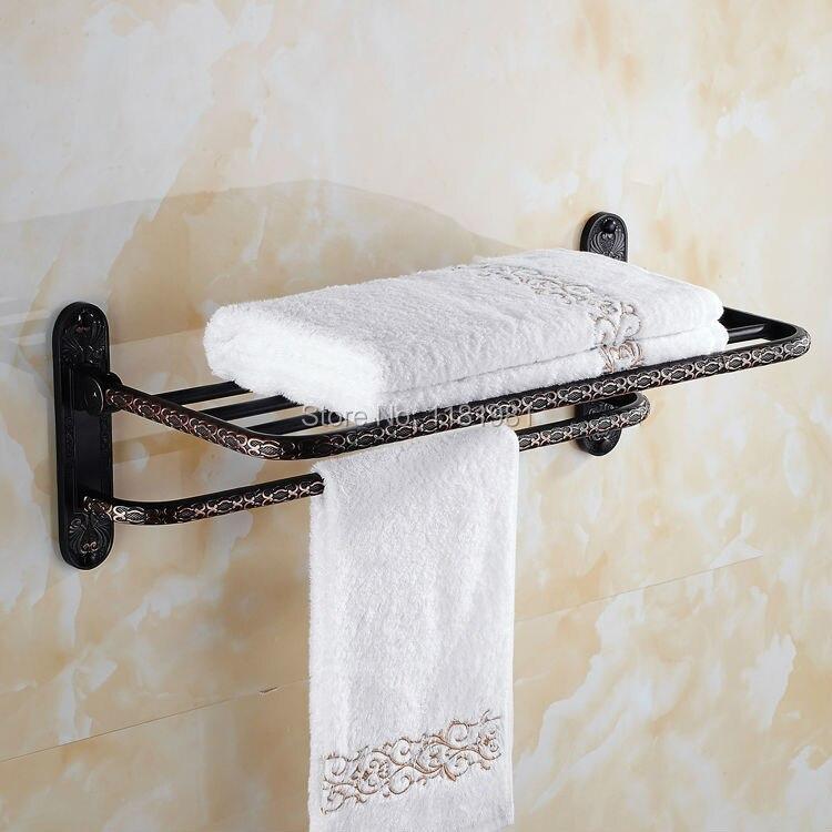 Black Copper Novelty Flower Carve Shape Households Dual Tier Towel Shelf Wall Hang I627<br><br>Aliexpress