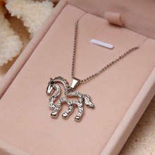 Fashion jewelry Silver plated Running Horse Necklace Pendant Necklace for women girl mom gifts