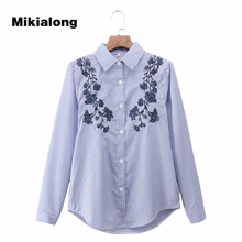 Buy Mikialong Floral Embroidery Blouse Striped Shirt Women Tops 2017 New Autumn Vintage Long Sleeve Blusas Femininas Chemise Femme for $8.75 in AliExpress store
