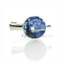 Romantic blue watercolor painting artwork hairgrips Van Gogh Starry Night Abstract Art hair clips pins for wedding & party T209