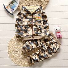 Camouflage Boys Clothing Set 2017 New Autumn Winter Kids Clothes Hooded Jacket+Pants Children's Tracksuits For Boys Sports Suit(China)
