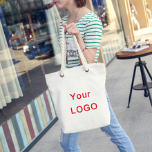 wholesale 500pcs/lot Manufacturer Natural cotton Canvas shopping bags tote customized print logo cotton string large beach tote(China)