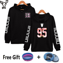 New Fashion BTS Design Hoodies Women Hip Hop With Zipper V 95 Korean Black Streetwear Style Womens Jackets And Coats Plus Size