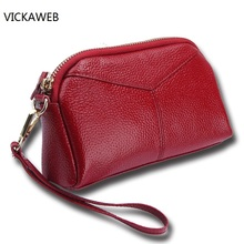 famous brand women coin purse genuine leather wallet womens real leather purses ladies clutch hand bag for make up(China)