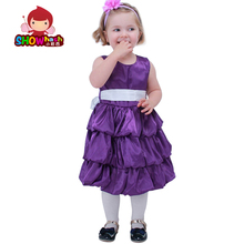 RUSSIA girls dress for birthday party princess girl dresses with bowknot dress purple beige pink rose colors 2 3 4 5 6 7 years(China)