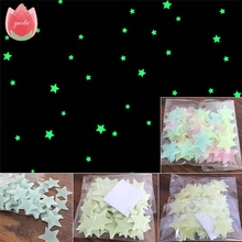 100Pcs Kids Bedroom Energy Storage Fluorescent Glow In The Dark Stars Wall Stickers Baby Rooms Home Party Decoration Free Glue