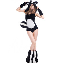 Halloween Cosplay Costumes Women Sexy Animal Weasel Cos Set Black Jumpsuit Hat Headwear Footstraps 4Pcs Set Carnaval Deguisement(China)