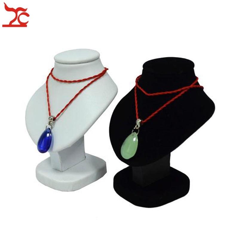 Mini Jewelry Display Bust White PU Pendant Holder Black Velvet Mannequin Necklace Rack Stand Wooden Pendant Portrait Model 11cm