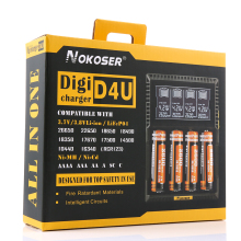 100% Brand New NOKOSER D4U 4 Slot LCD Smart Battery Charger For LiFePO4 NiMH NiCd AA/AAA Li-ion 22650/18650/18490/17500/18350