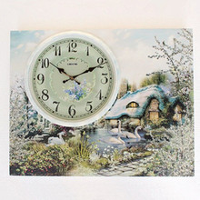 Authentic Li Sheng clock meter box European mute living room wall decoration painting wood clock flip creative block(China)