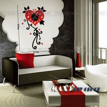 1x Wholesale Large Frameless DIY Wall Clock Creative Love Flower Sticker Vinyl Decal Room Decor Art 10D043 MAX3 Brand Room Decor