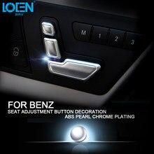 6PCS Car Interior Decal Silver Rhinestones ABS Plastic Zinc Alloy Seat  Adjustment Button Cover Car-Styling For Mercedes-Benz E 588b8d8a9d33