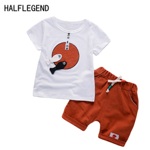 2017 New boys clothes short sleeve T-shirt+shorts 2-piece set O-neck cute fish pattern boys clothing set red children clothing