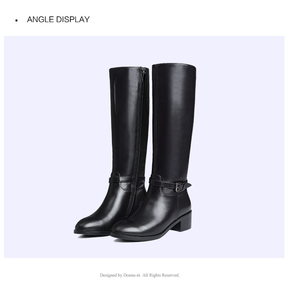 Donna-in Winter Boots Women Fashion Fur Warm Boots New Knee High Boots Real Leather Women Shoes Round Toe Heel Black Ladies 2018 (7)