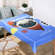 Cute Puppy Cartoon Pattern Tablecloth Cotton Linen Dinner Table Cloth Blue Animal Decoration Table Cover Pastoral Washable