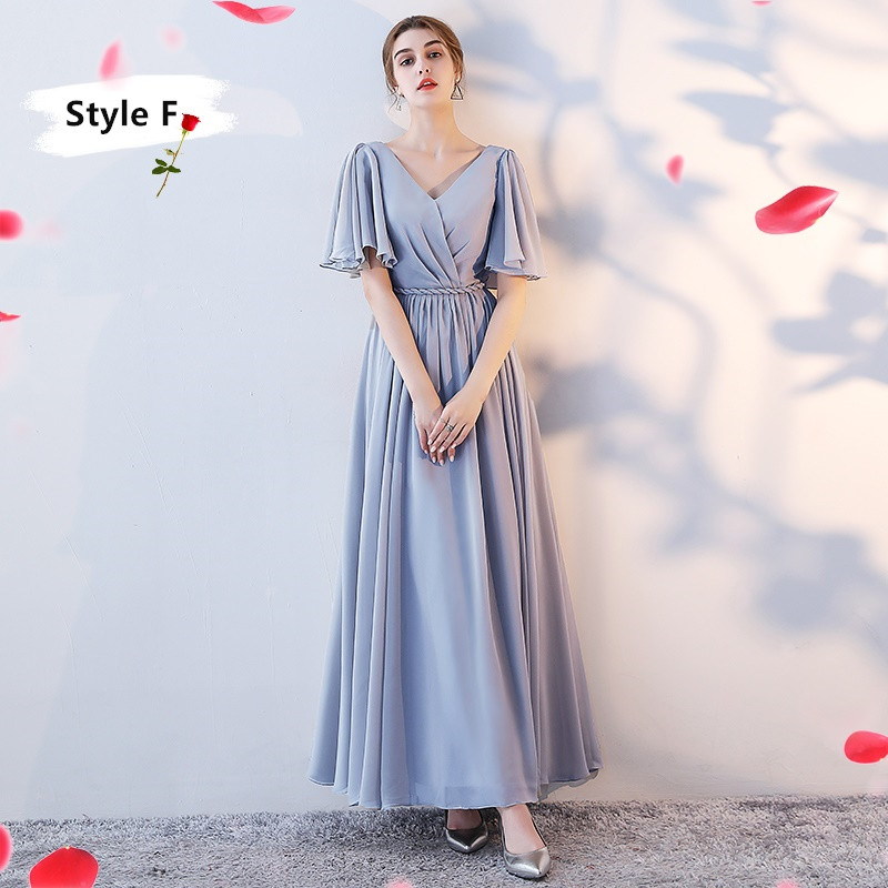 SOCCI Weekend Long Bridesmaid Dresses 2017 Sliver Sleeveless Sister Dress Grey Off shoulder Formal Wedding Party Gowns Robe de 16